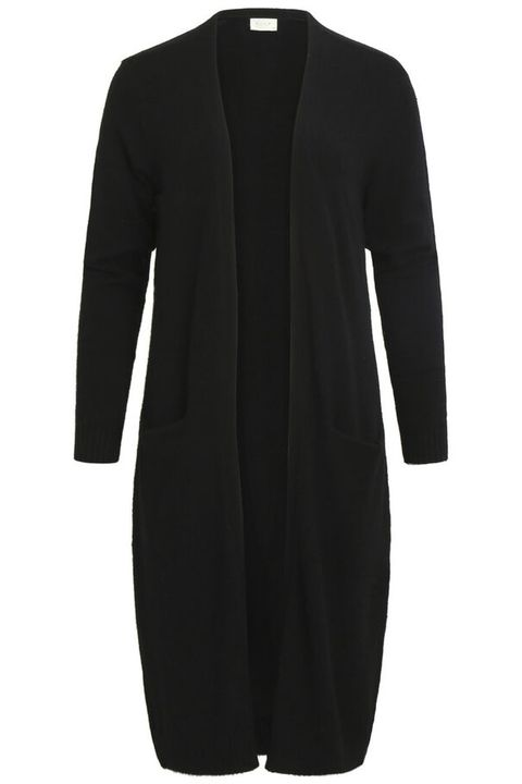 Clothing, Black, Outerwear, Sleeve, Dress, Sweater, Coat, Cardigan, Collar, Neck,