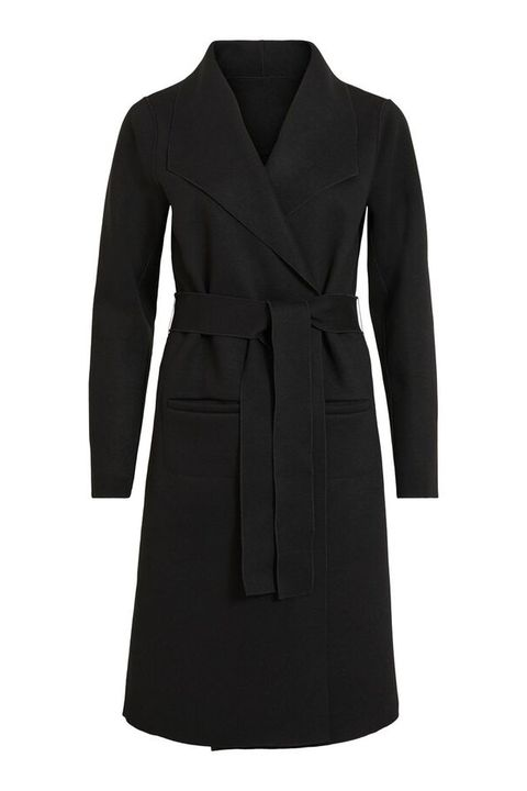 Clothing, Coat, Trench coat, Overcoat, Black, Outerwear, Sleeve, Dress, Collar, Robe,
