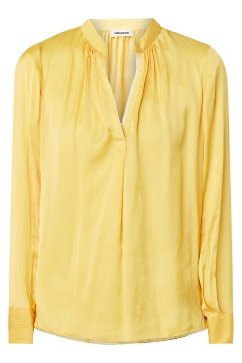 Clothing, Yellow, Sleeve, Neck, Blouse, Shirt, Collar, Outerwear, Top, Button,