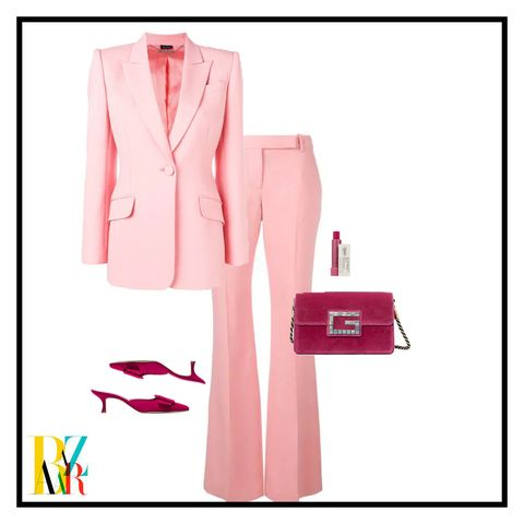 Clothing, Pink, Formal wear, Suit, Outerwear, Pattern,