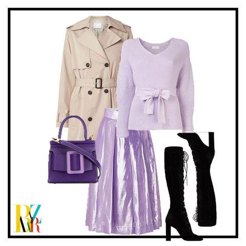 Clothing, Purple, Outerwear, Violet, Pink, Coat, Trench coat, Footwear, Dress, Formal wear,