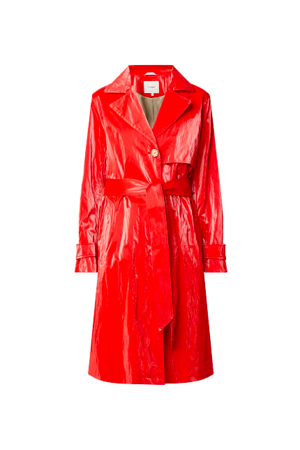 Clothing, Trench coat, Outerwear, Red, Coat, Robe, Sleeve, Overcoat, Dress, Raincoat,