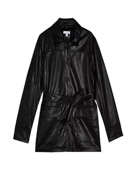 Clothing, Outerwear, Black, Jacket, Coat, Sleeve, Leather, Trench coat, Leather jacket, Overcoat,