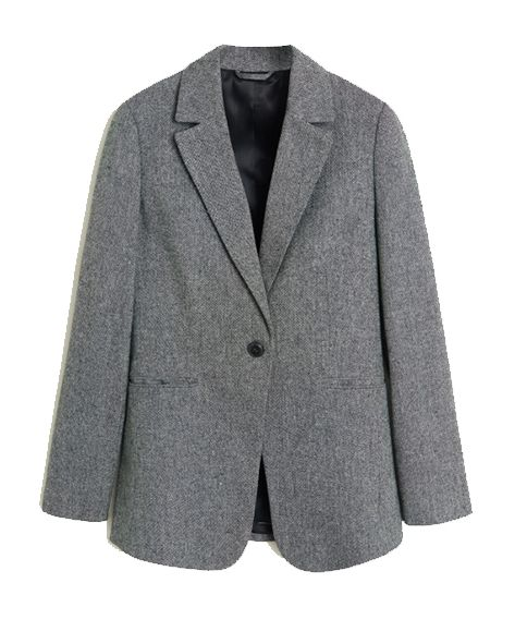 Clothing, Outerwear, Blazer, Jacket, Suit, Grey, Sleeve, Formal wear, Top, Collar,
