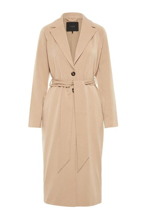 Clothing, Coat, Trench coat, Outerwear, Beige, Overcoat, Dress, Sleeve, Robe, Jacket,