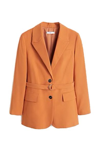 Clothing, Outerwear, Blazer, Jacket, Orange, Tan, Sleeve, Coat, Button, Collar,