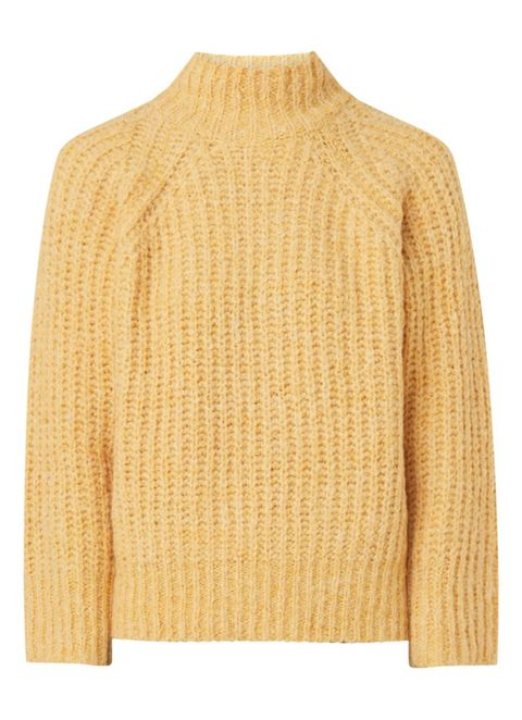 Clothing, Outerwear, Sweater, Sleeve, Beige, Neck, Yellow, Wool, Jersey, Top,