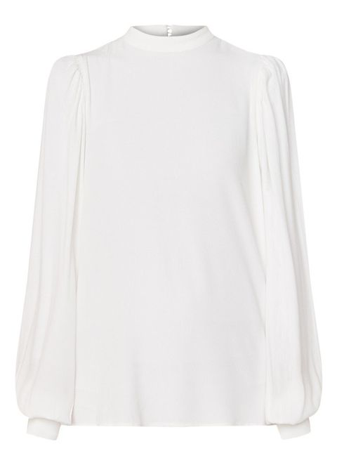 Clothing, White, Sleeve, Neck, Blouse, Shoulder, Outerwear, Top, T-shirt, Shirt,