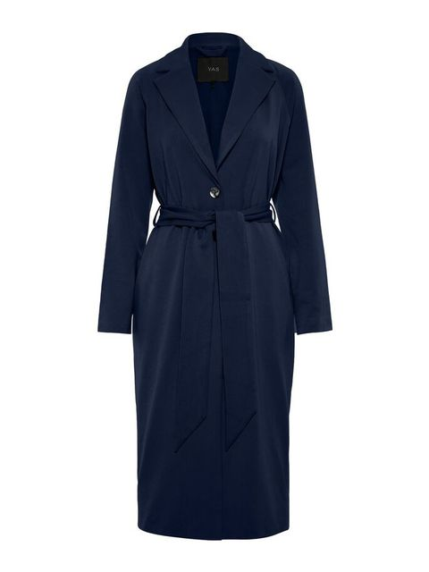 Clothing, Coat, Blue, Outerwear, Trench coat, Dress, Robe, Overcoat, Sleeve, Day dress,