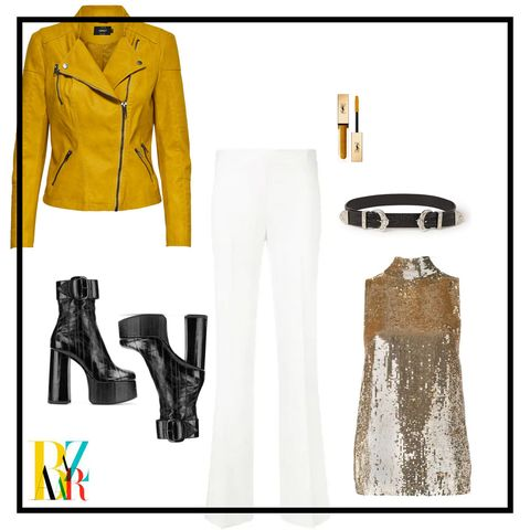 Clothing, White, Yellow, Footwear, Fashion, Outerwear, Jacket, Font, Fashion design, Sleeve,