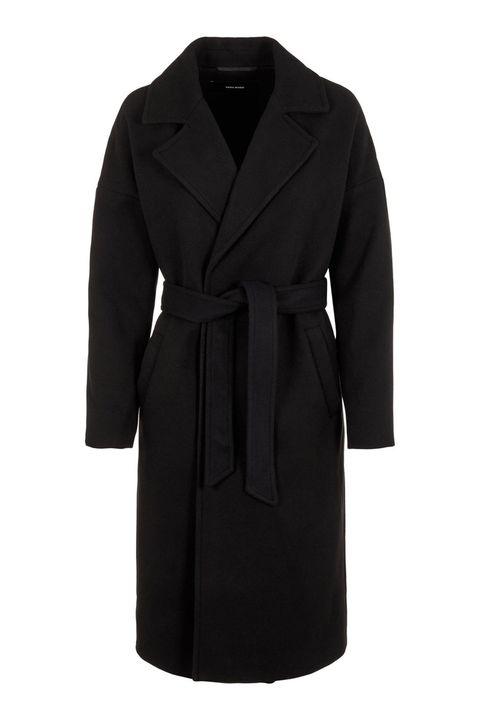 Clothing, Coat, Trench coat, Overcoat, Outerwear, Black, Sleeve, Robe, Collar, Dress,