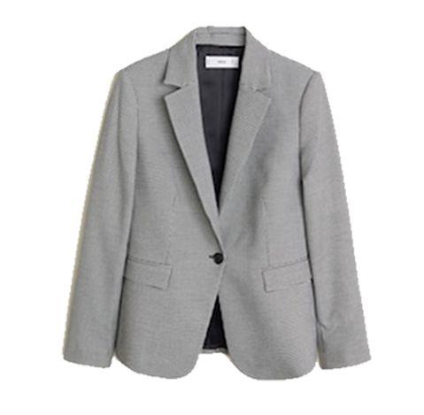 Clothing, Outerwear, Blazer, Jacket, Suit, Formal wear, Beige, Sleeve, Top, Button,