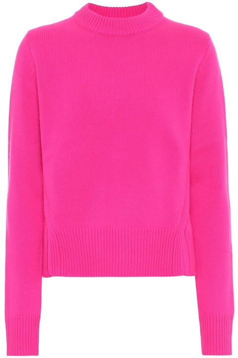 Clothing, Pink, Sleeve, Neck, Sweater, Jersey, Outerwear, Wool, Magenta, Shoulder,