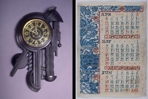 写真左:内藤春治《壁面への時計》写真右:芹沢銈介《1948年のカレンダー(4月、5月、6月)》共に東京国立近代美術館蔵