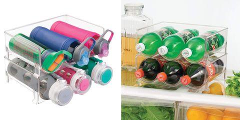 Product, Water bottle, Plastic bottle, Green, Plastic, Bottle, Drinkware, Tableware, Fashion accessory, Shelf,