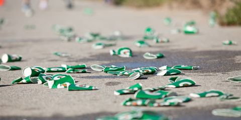 Crushed water cups at a race