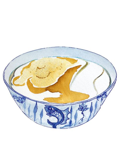 Watercolor bowl of Hong Kong dessert Hot Tofu, Soy Bean Curd with brown yellow sugar on top.