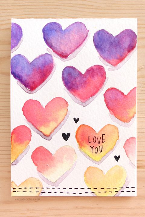 diy valentine's day cards watercolor hearts