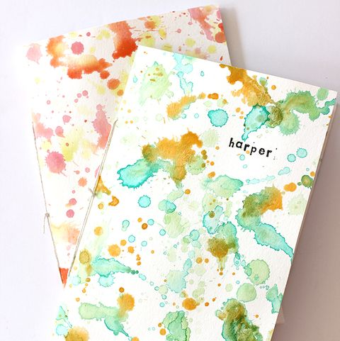 easy back to school diy watercolor notebooks