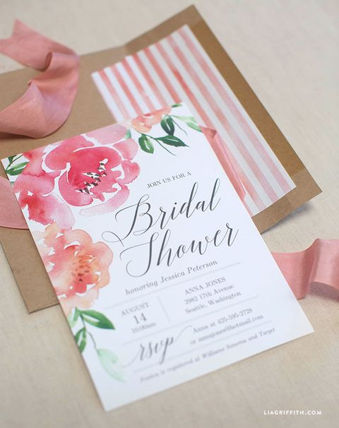 watercolor peony diy bridal shower invitation