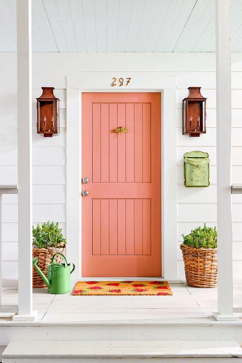 Door, Home door, Orange, Home, Window, Room, House, Wood, Furniture, Peach,