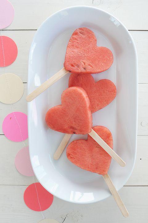 watermelon pops - heart shaped food