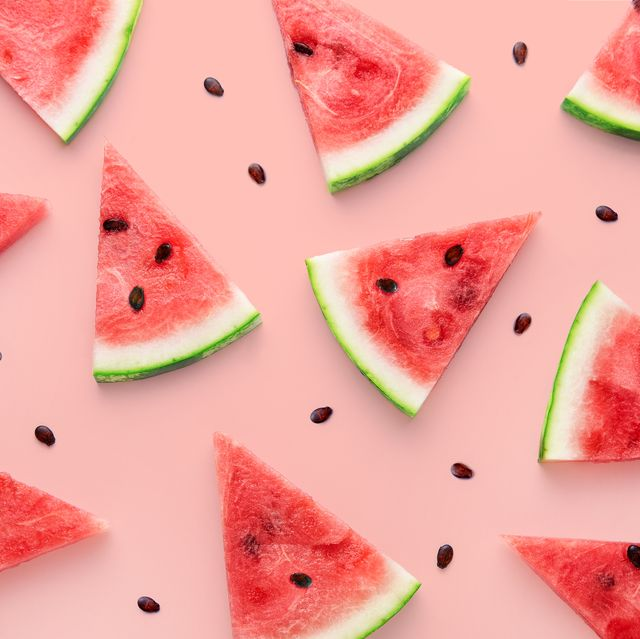 watermelon slices pattern viewed from above top view summer concept