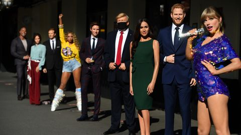 wax figures, including taylor swift, the duke and duchess of sussex, us president donald trump and eddie redmayne, in the entrance line at madame tussaud's in london, as the attraction prepares to reopen to the public following the easing of lockdown restrictions in england photo by kirsty o'connorpa images via getty images