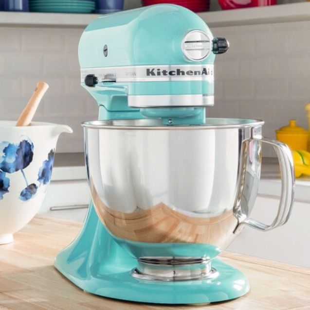 blue kitchenaid mixer and washer and dryer set