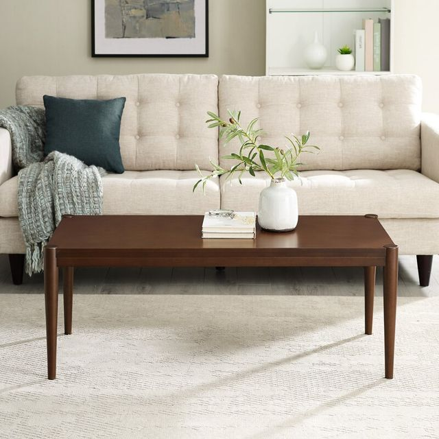 living room with brown coffee table, cream rug, cream couch, planter, books