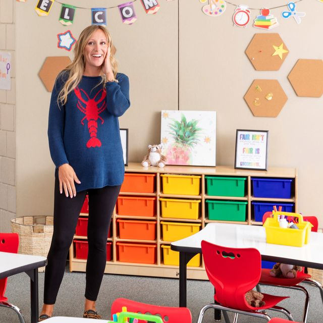 woman in colorful classroom