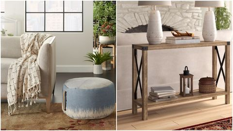 ottoman, couch, and console table in separate rooms
