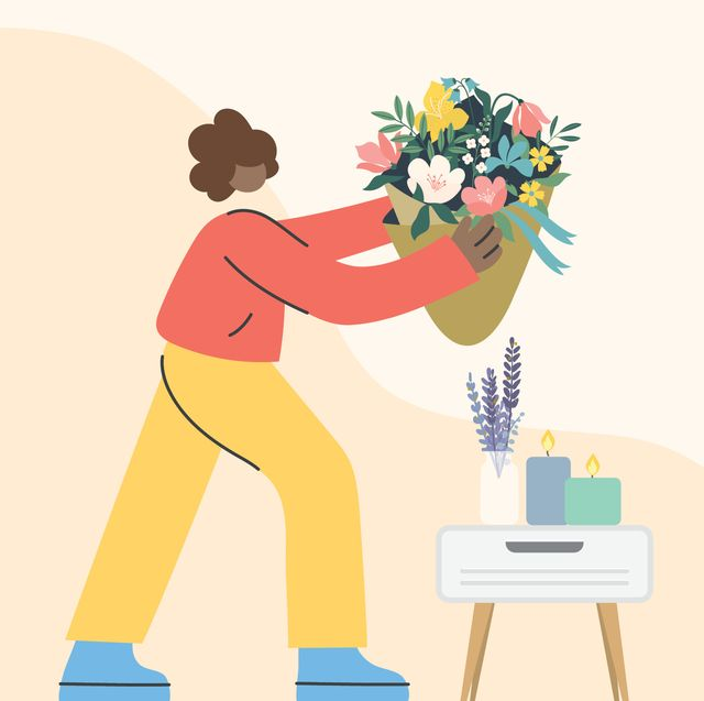 graphic of woman holding flowers