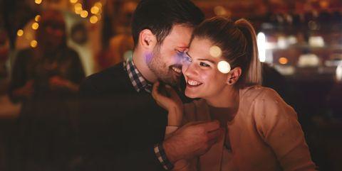 Ear, Fun, Interaction, Alcohol, Flash photography, Love, Romance, Laugh, Drinking establishment, Distilled beverage,