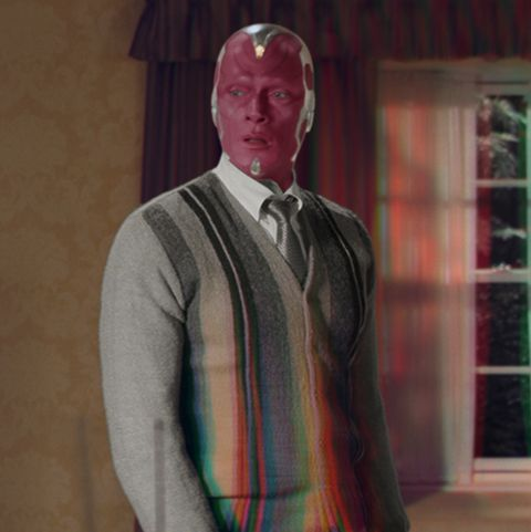 paul bettany as vision and elizabeth olsen as wanda maximoff in marvel studios' wandavision exclusively on disney photo courtesy of marvel studios ©marvel studios 2020 all rights reserved