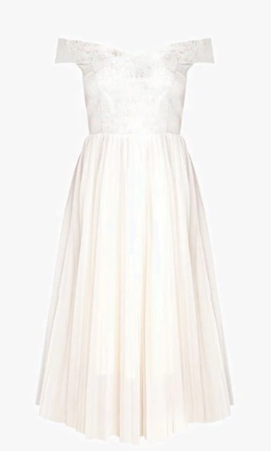 Clothing, Dress, Day dress, White, Cocktail dress, Gown, Bridal party dress, A-line, Formal wear, Sleeve,