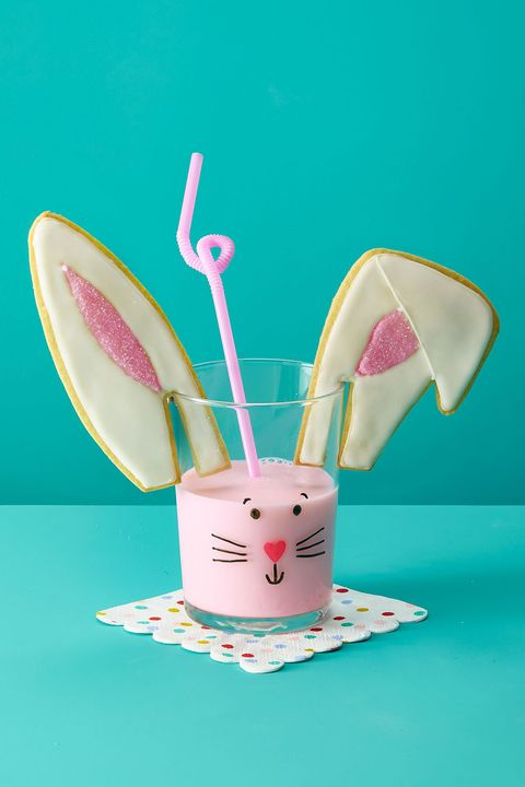 bunny ears cookies and strawberry milk