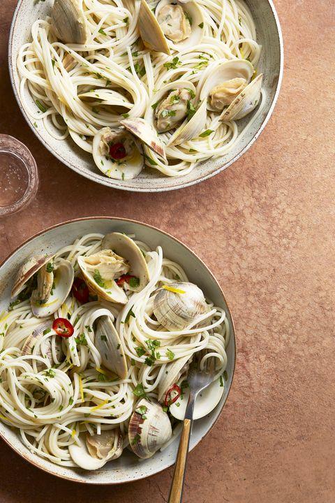 clams, chile, and lemon with quinoa spaghetti, pasta