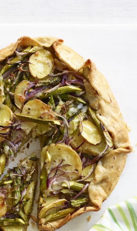 asparagus, potato, and spinach galette