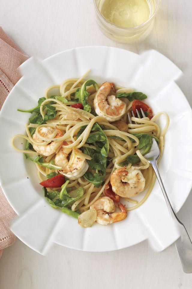 shrimp, cherry pepper  arugula linguine