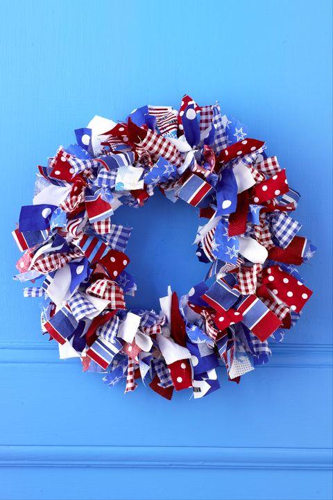 usa patriotic fabric wrapped wreath