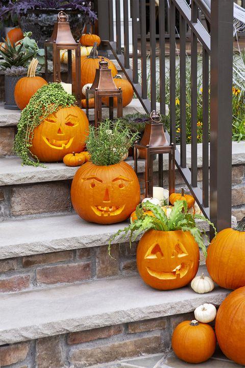 carved pumpkin planters