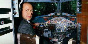 Businessman Silvio Berlusconi in Cockpit