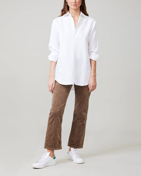 with nothing underneath white weave shirt boyfriend shirt classic
