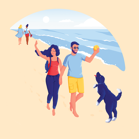 People on beach, People in nature, Illustration, Fun, Youth, Friendship, Happy, Gesture, Art, Stock photography,