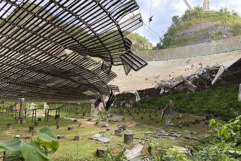 on august 10, an auxiliary cable on the arecibo observatory snapped, resulting in significant damage to the 1,000 foot wide telescope dish below
