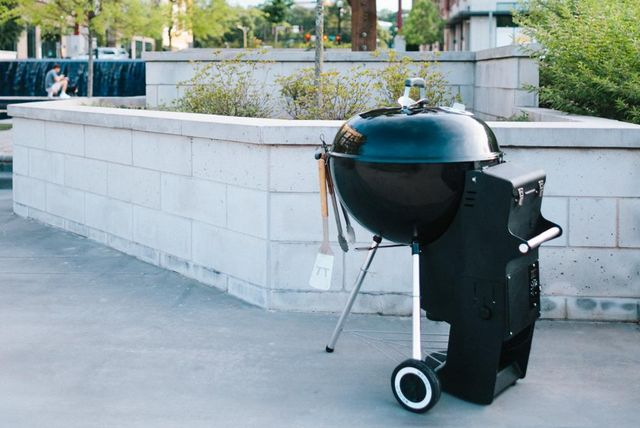 weber grill with spider 22 attachment