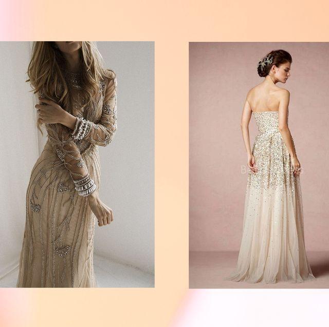 Clothing, Dress, Gown, Shoulder, Wedding dress, Fashion model, Formal wear, Neck, Bridal party dress, A-line,