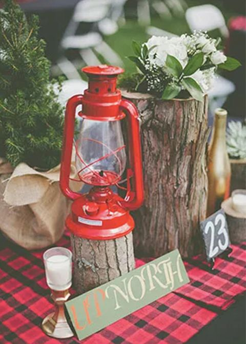 camping wedding table decorations