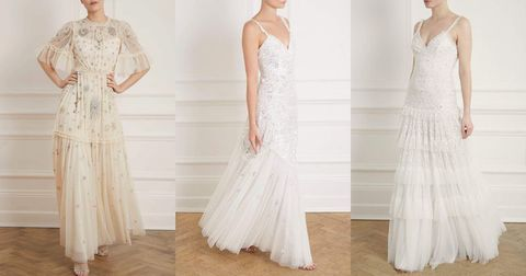 needle  thread wedding dresses including a style with sleeves, a long dress and embellishment